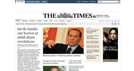 Times website with original font styles